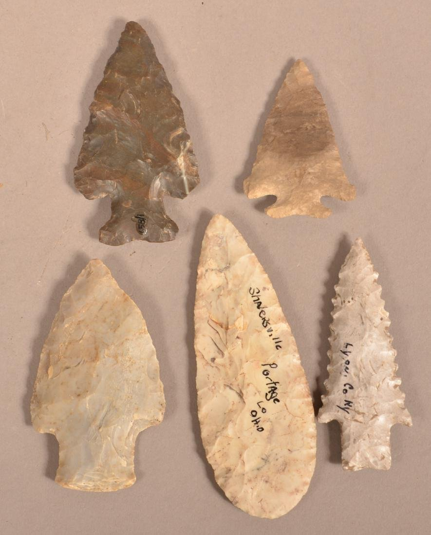 5 Midwest Flint Points, Some Bare Old Location - 2