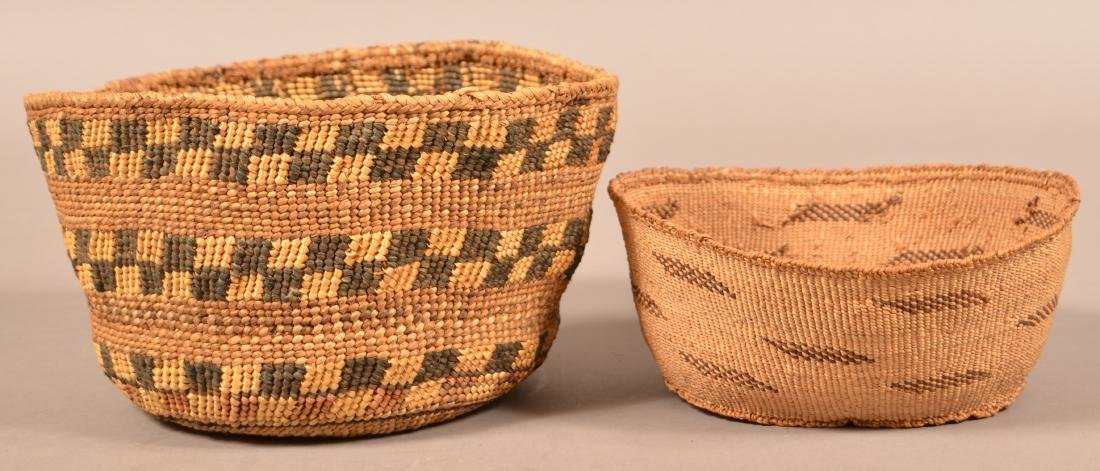 """2 Antique California Twined Baskets """"Pit River"""" Types"""