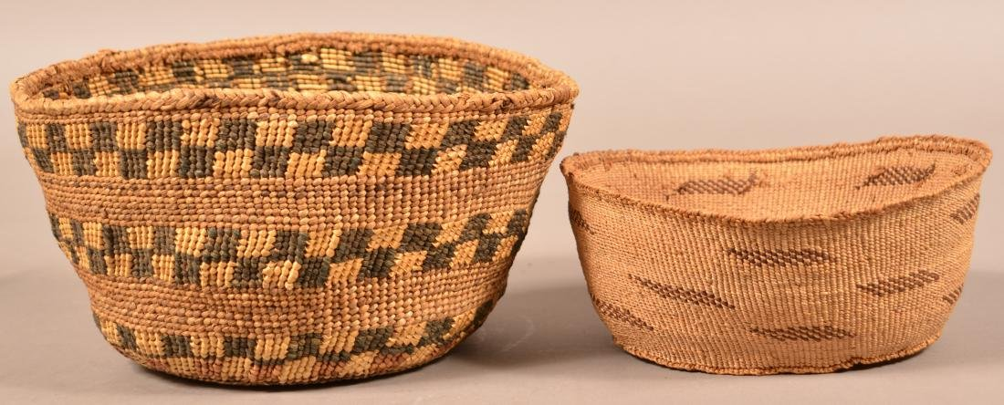 """2 Antique California Twined Baskets """"Pit River"""" Types - 2"""