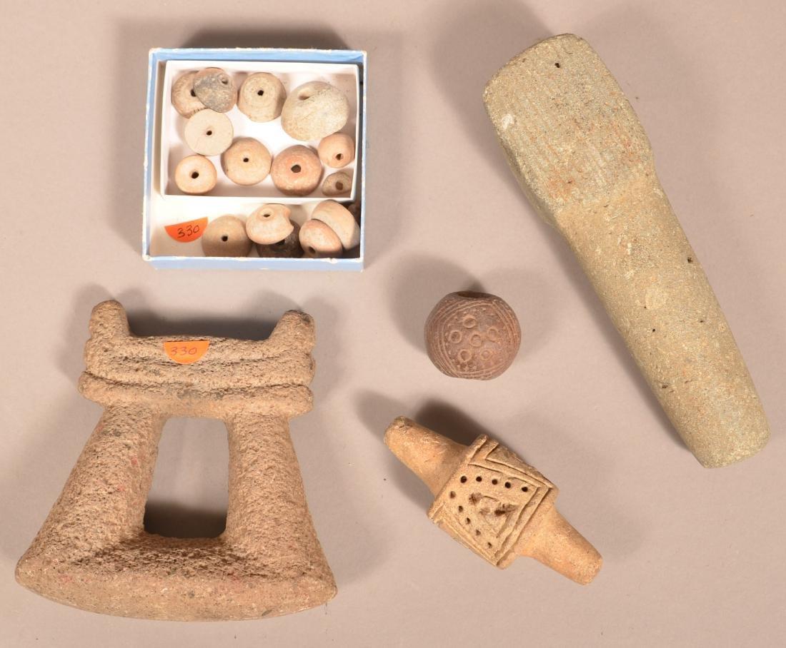 Grop of Meso American Artifacts - Stirrup Handled Mano