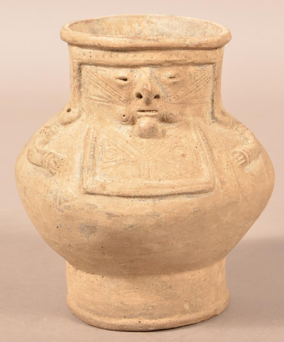Precolumbian Pottery Jar w/ a Human Effigy Relief
