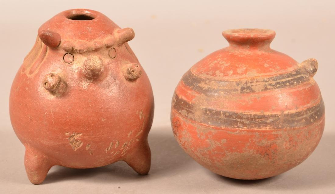 """2 Precolumbian Pottery Vessels 6"""" x 5"""", 6"""" x 4 3/4"""","""