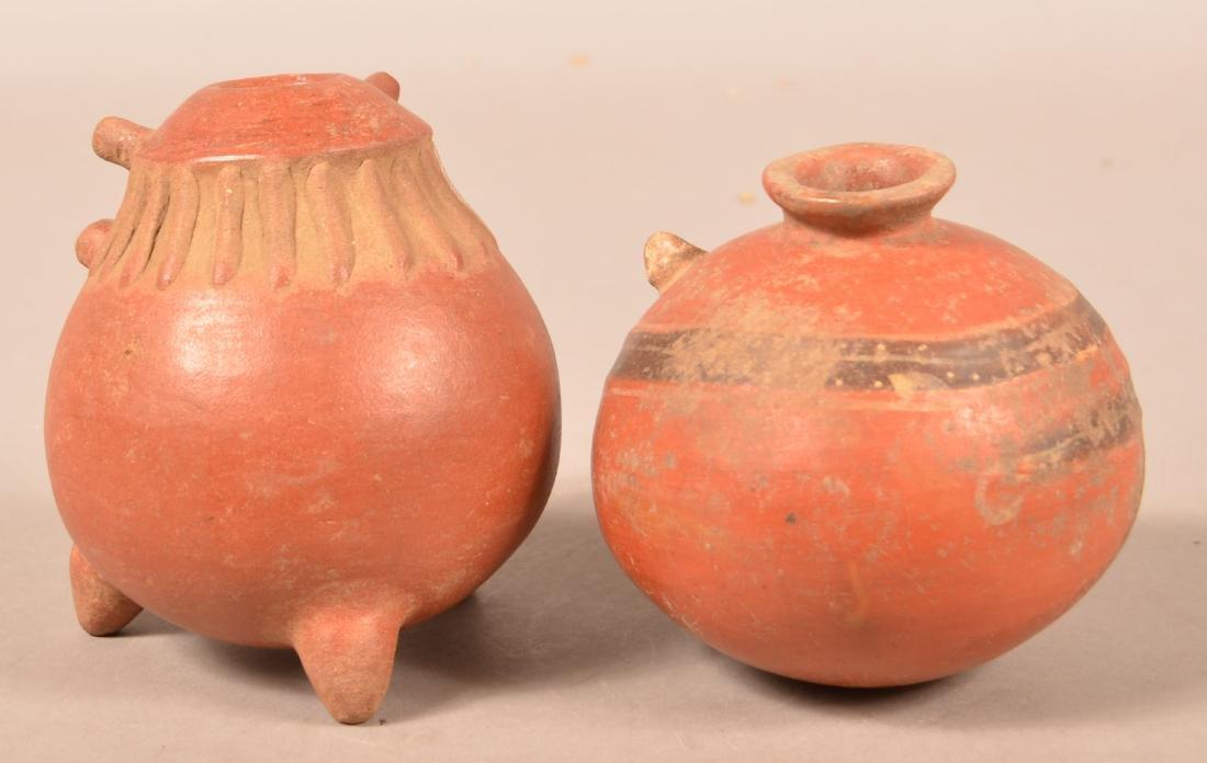 """2 Precolumbian Pottery Vessels 6"""" x 5"""", 6"""" x 4 3/4"""", - 2"""