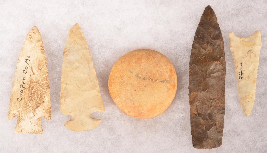 "5 Midwestern Stone Artifacts - 5 1/2"" Chert Point, 3 - 2"