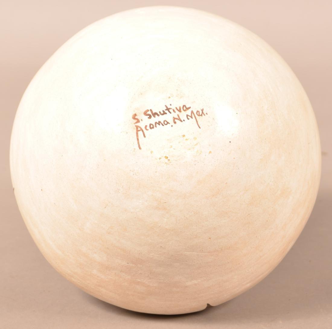 """Vintage Acoma Pueblo Jar 8 1/2"""" Dia. 5"""" Tall, Stylized - 3"""