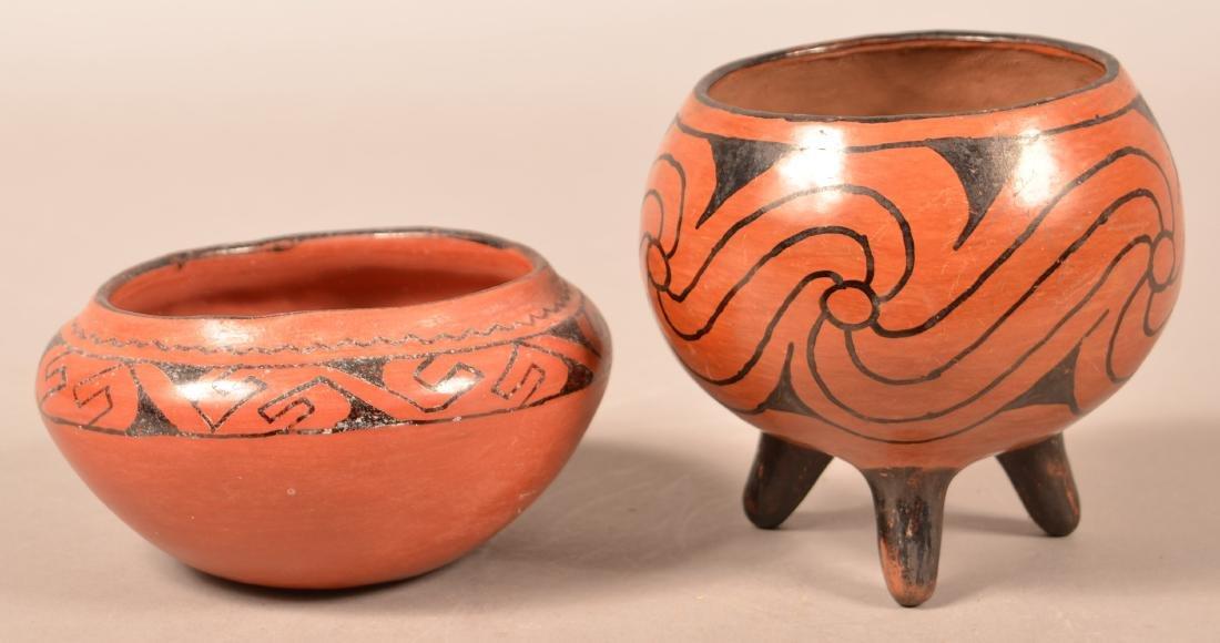 2 Vintage Maricopa Pottery Vessels, Tripod Base,
