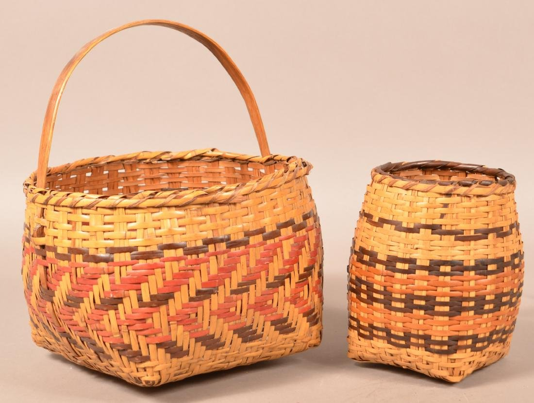 "2 Vintage Cherokee Rivercane Baskets 10"" x 6 1/2"" Oak"