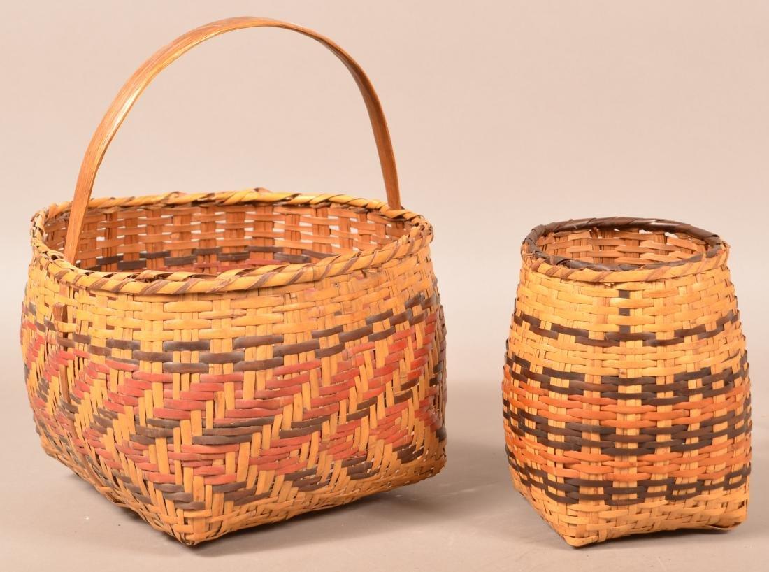 "2 Vintage Cherokee Rivercane Baskets 10"" x 6 1/2"" Oak - 2"