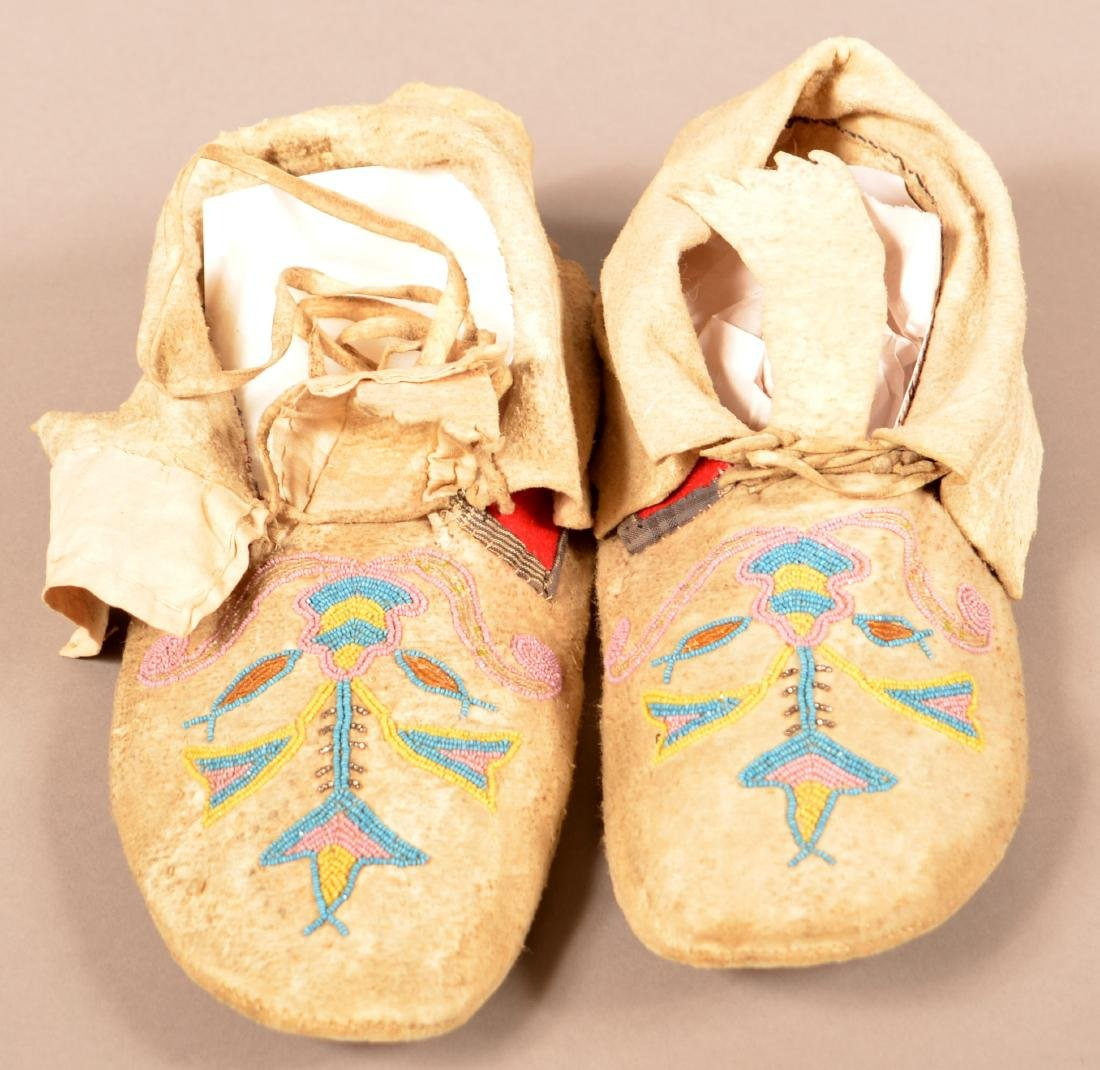Pair of Antique Santee Sioux Type Moccasins, Floral