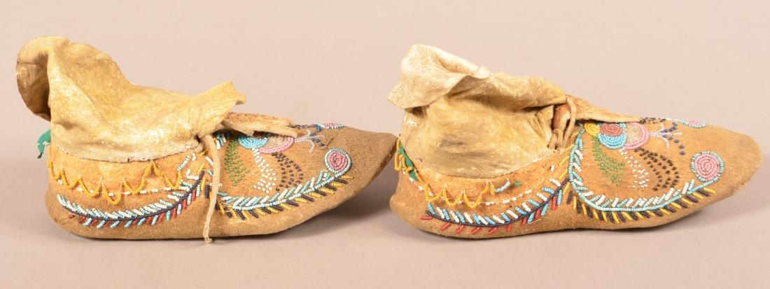 Pair of Antique Beaded Buckskin Moccasins w/ Rawhide - 2