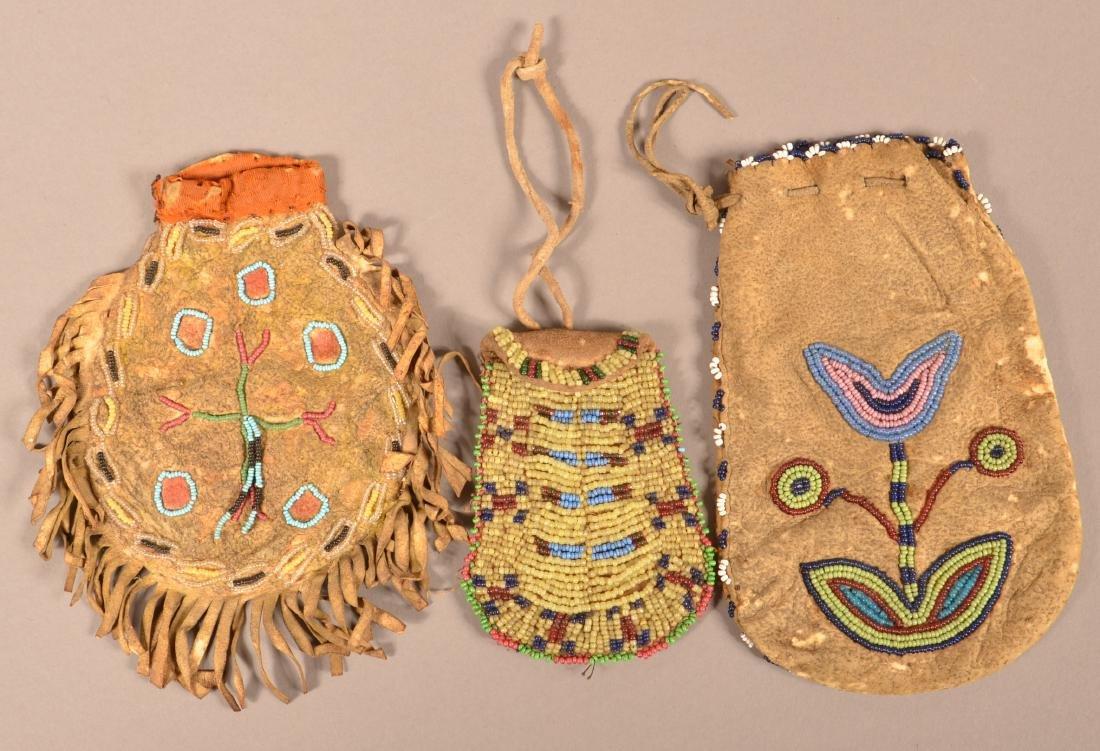 3 Antique Plains Indian Buckskin Pouches