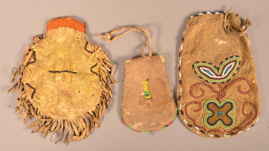 3 Antique Plains Indian Buckskin Pouches - 2