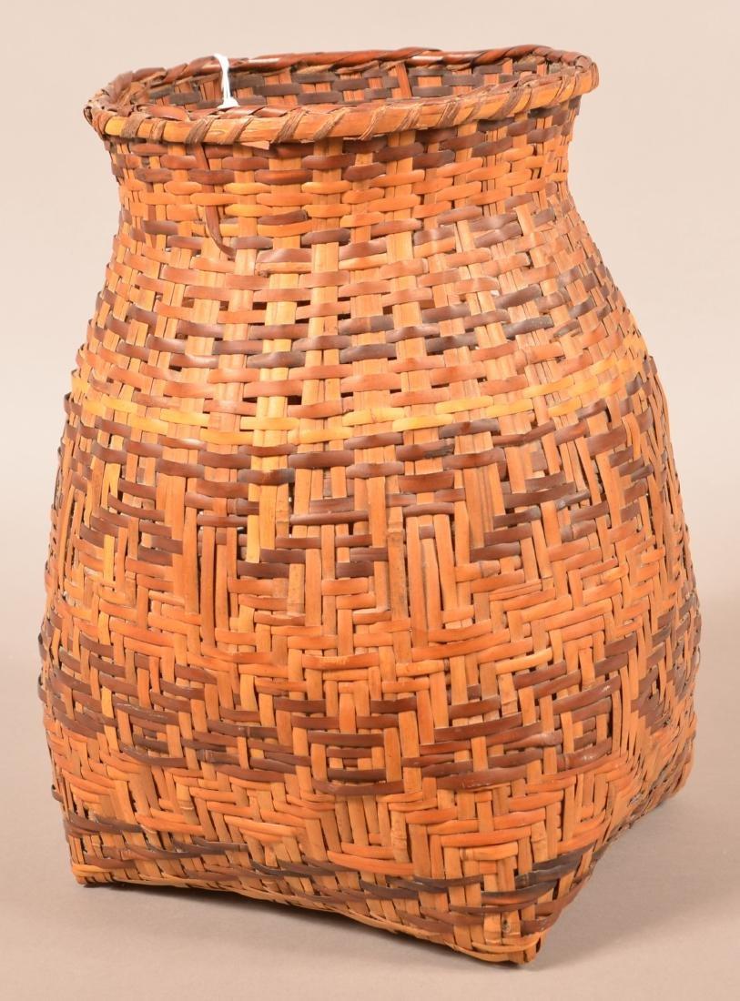 "Vintage Cherokee Dyed River Cane Storage Basket 14"""