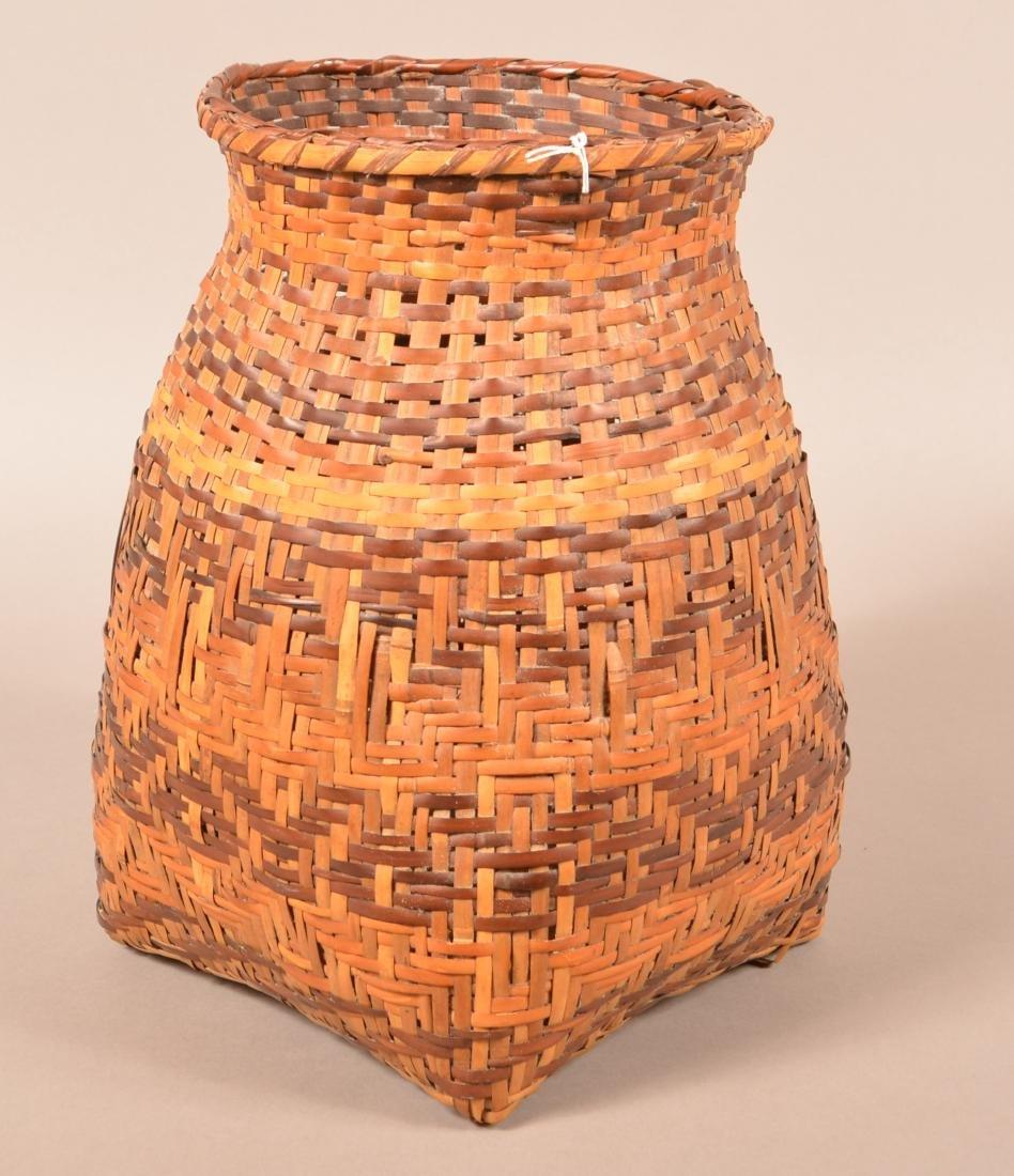 "Vintage Cherokee Dyed River Cane Storage Basket 14"" - 2"