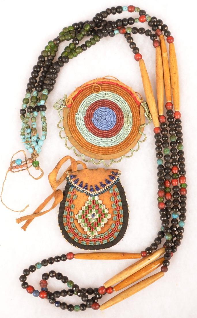 3 Plains Indian Items: Original Trade Bead and Bone