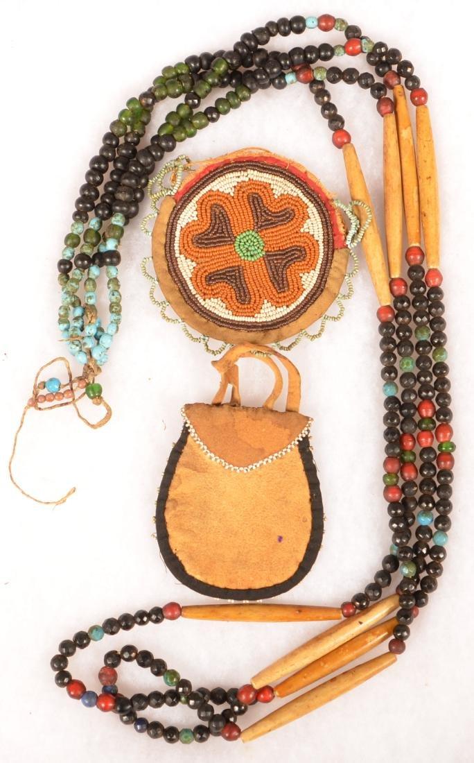 3 Plains Indian Items: Original Trade Bead and Bone - 2