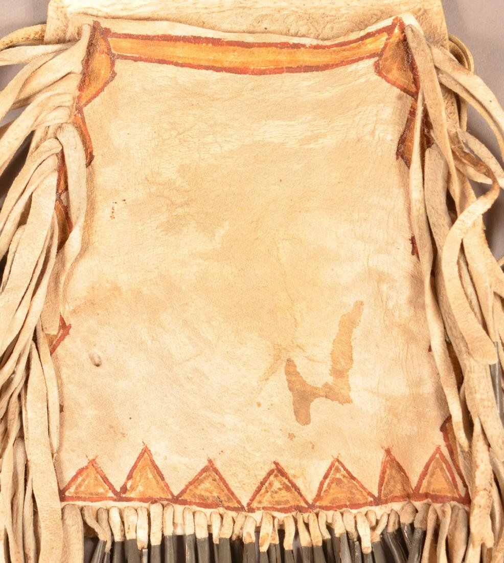 Antique Apache Indian Buckskin Bag, Painted and Tin - 2