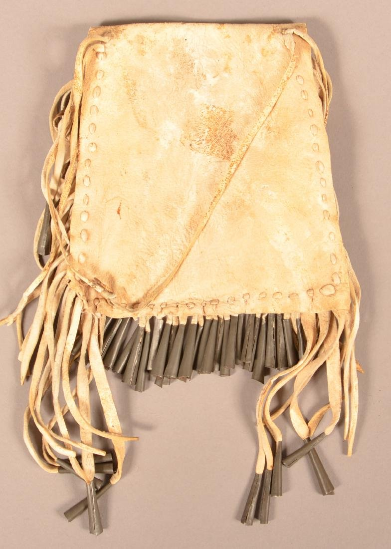 Antique Apache Indian Buckskin Bag, Painted and Tin - 3