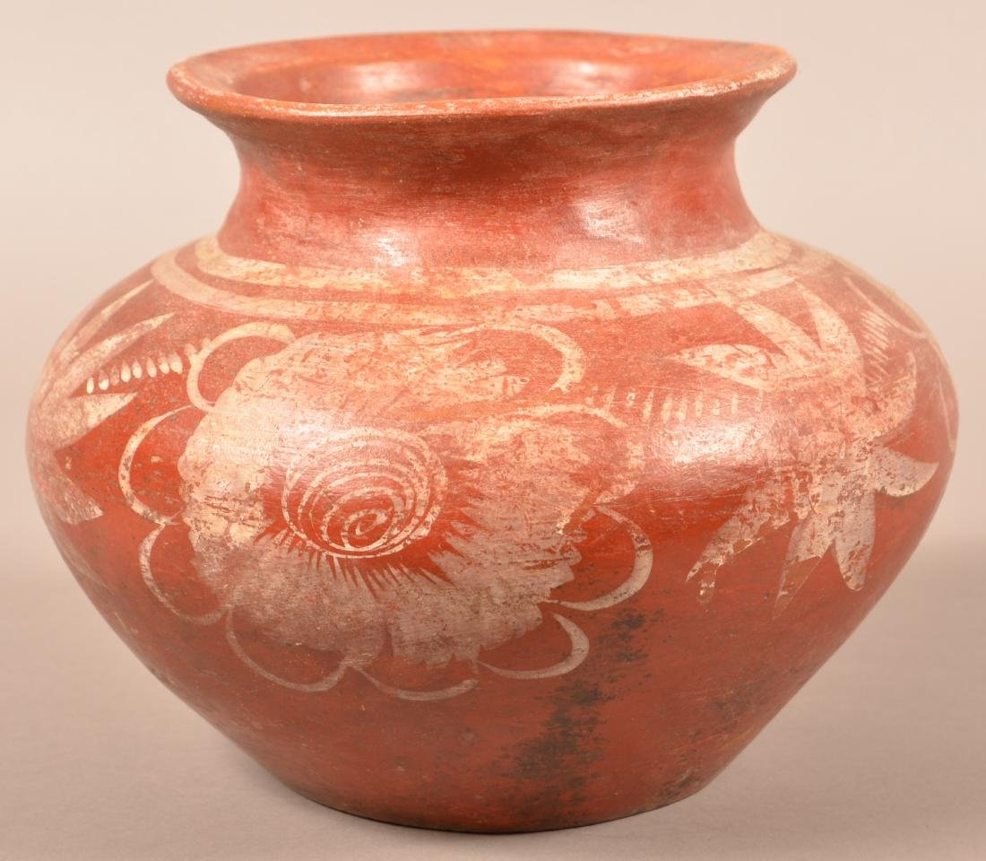 "Antique Mexican Indian Pottery ""Olla"" w/ Floral"