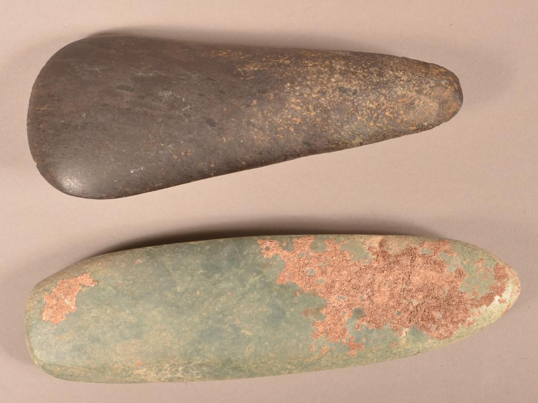 "2 Precolumbian, Meso American Celts, 8""x3"" Back Stone, - 2"