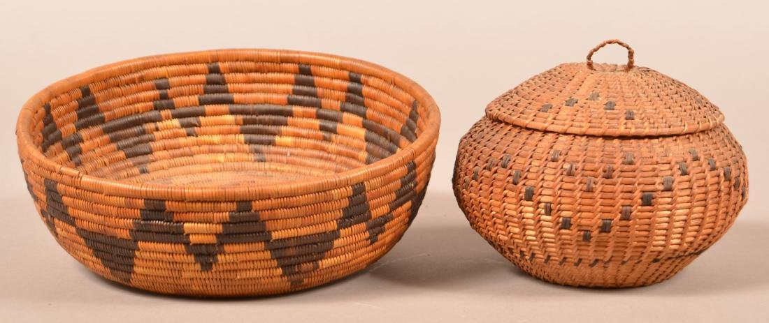 "2 Californian Indian Baskets, Low Bowl Shaped, 9""x2"""