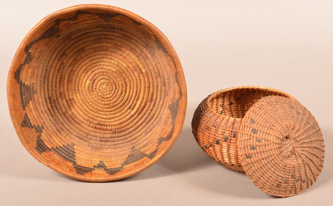 "2 Californian Indian Baskets, Low Bowl Shaped, 9""x2"" - 2"