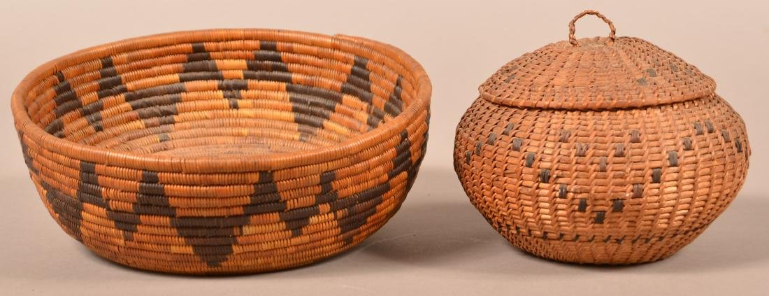"2 Californian Indian Baskets, Low Bowl Shaped, 9""x2"" - 3"