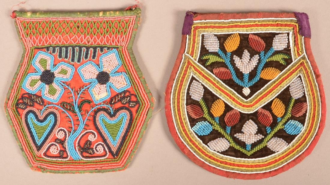 2 19th Cent. Iroquois Beaded Bags