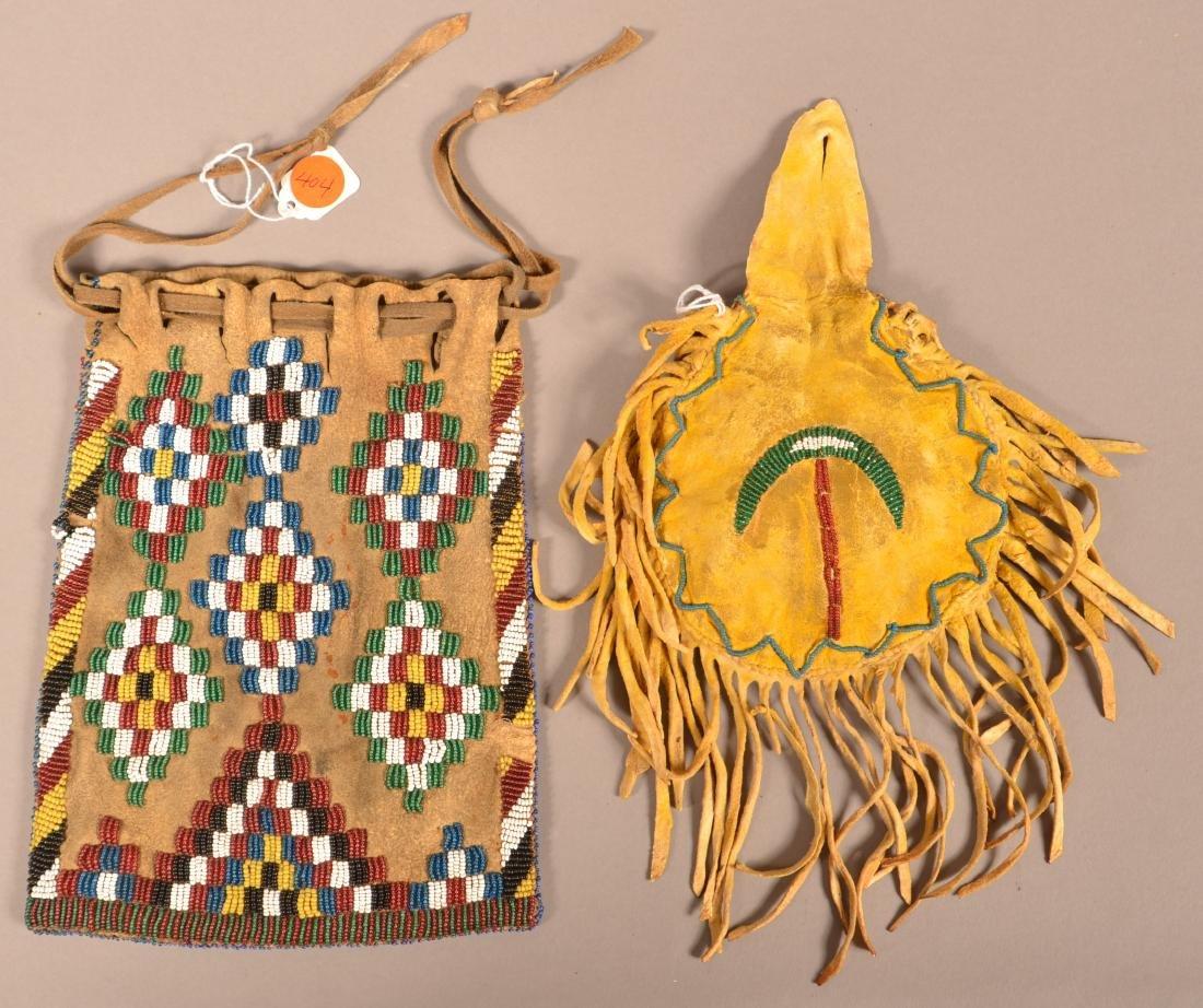 2 Antique Apache Buckskin Pouches, Yellow Painted,