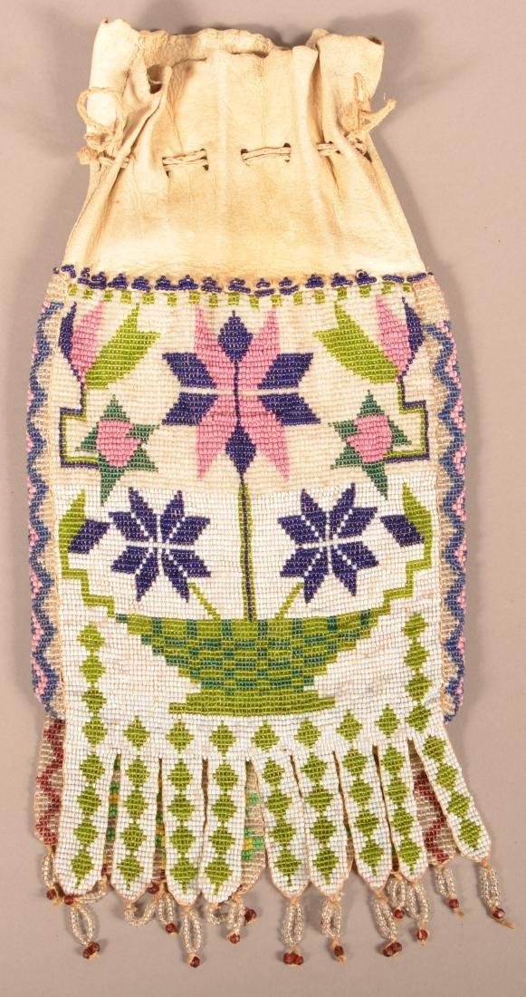 Antique Great Lakes Area Bucksin Bag w/ Loom Beaded