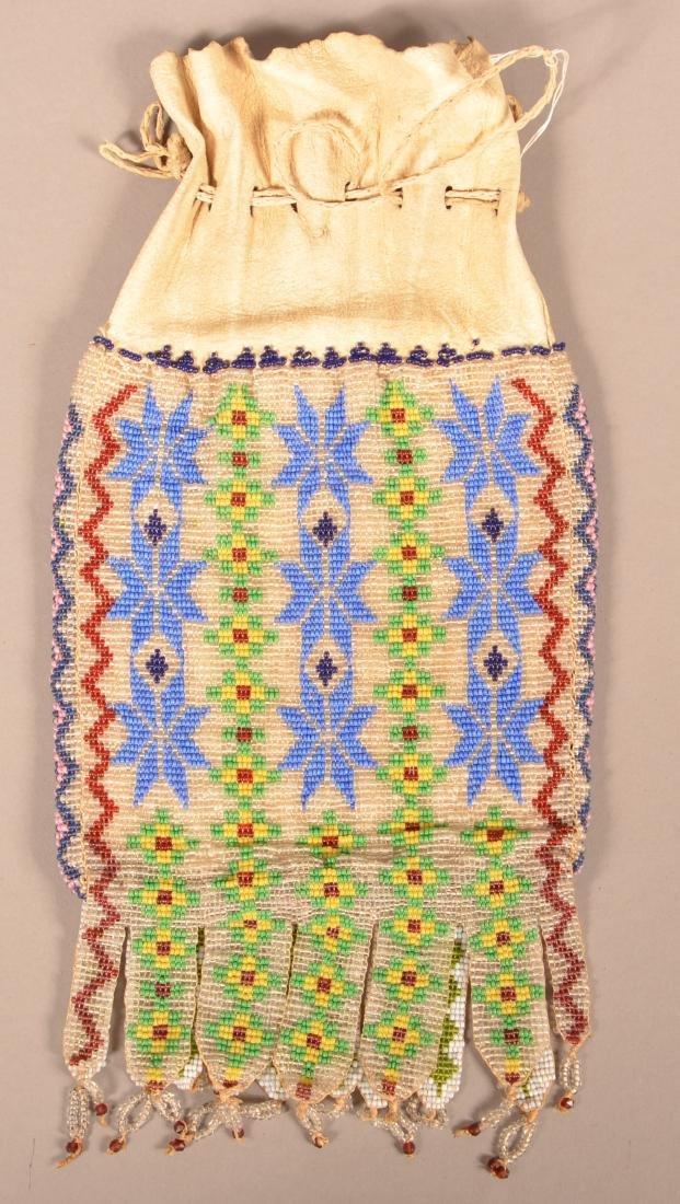 Antique Great Lakes Area Bucksin Bag w/ Loom Beaded - 2