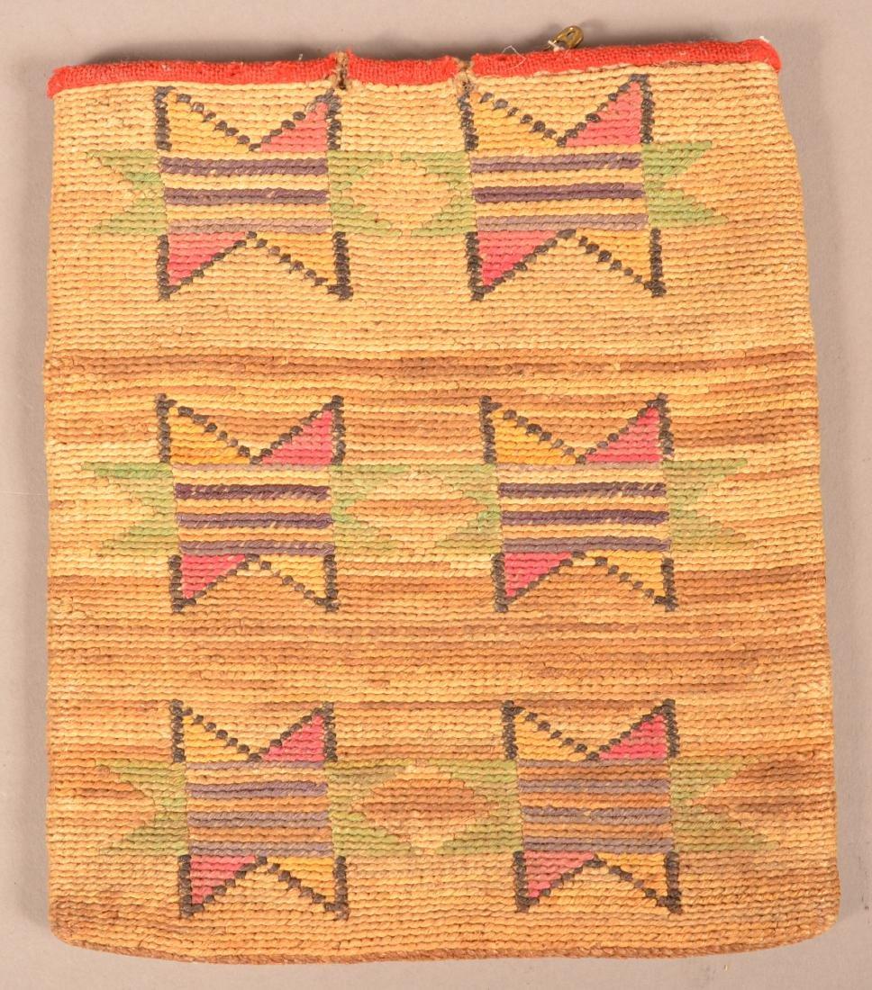 Antique Nez Perce Twined Corn Husk Bag w/ Wool Accents
