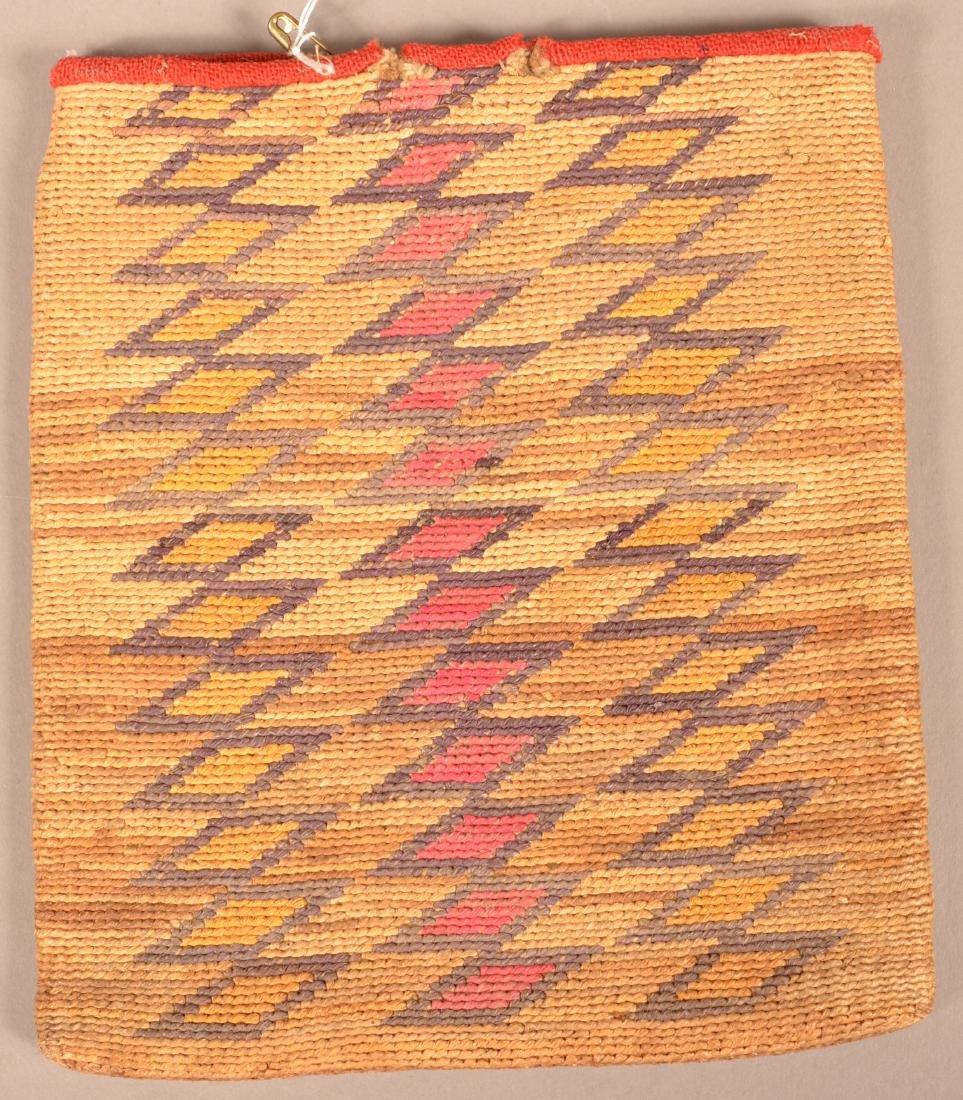 Antique Nez Perce Twined Corn Husk Bag w/ Wool Accents - 2