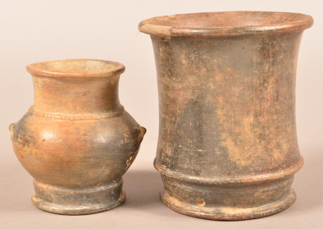 2 Meso American Pottery Vessels - Larger One w/ Minor