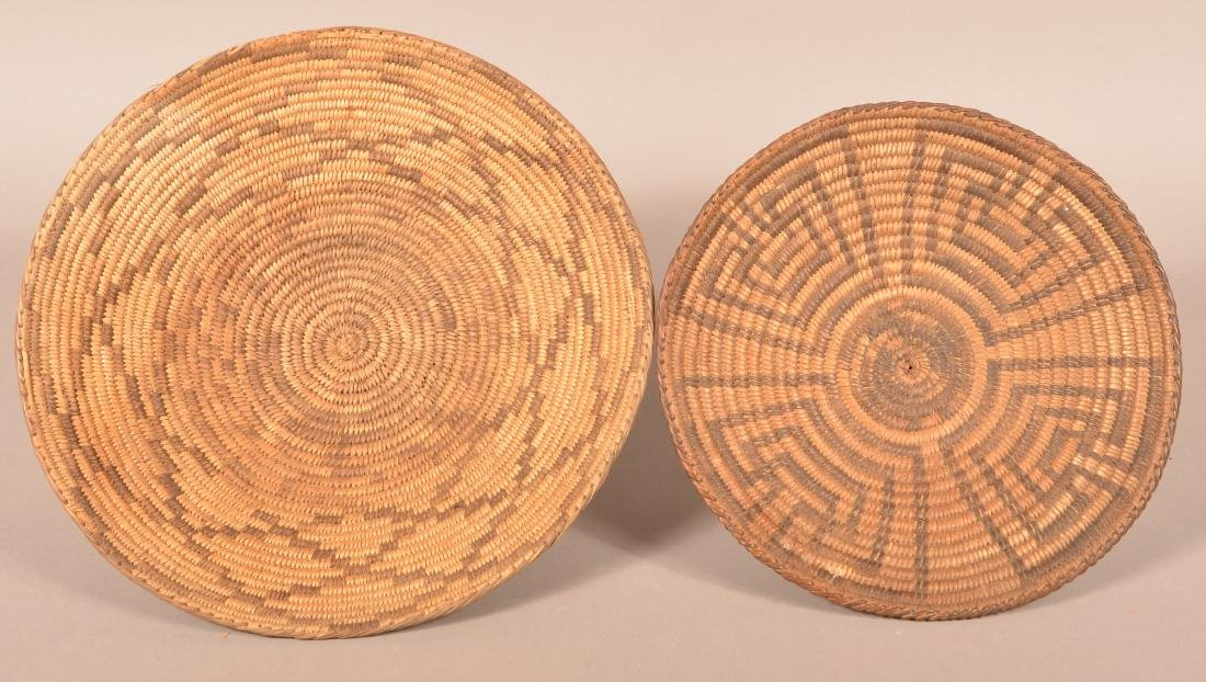 "2 Antique S.W. Coiled Baskets, 13 3/4"" Dia., 11 1/2"""