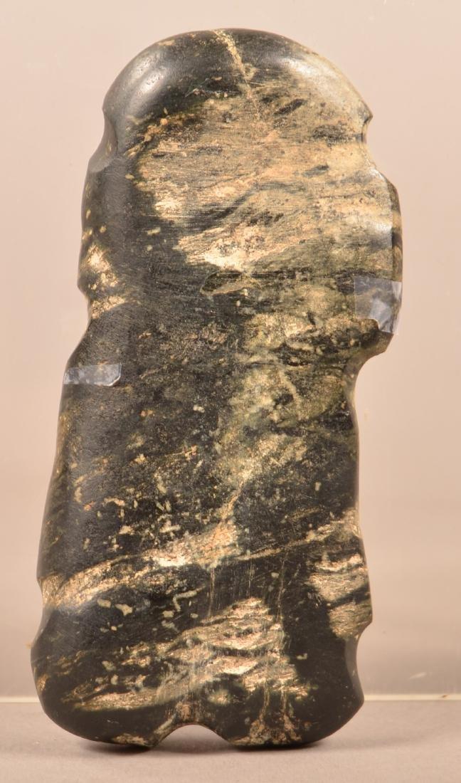 "Mesoamerican Polish ""String Cut"" Stone Figurine 4"" x 2"" - 2"