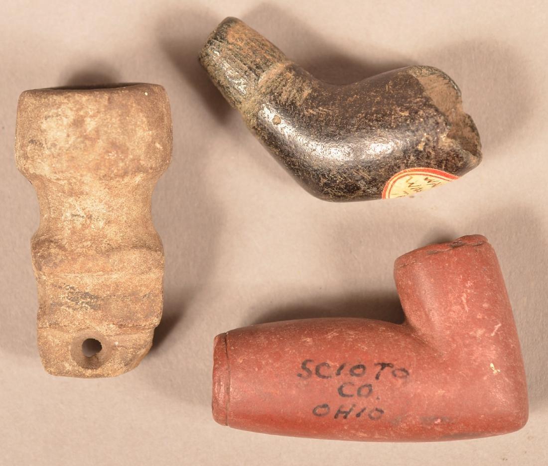 """3 Good Old Native Made Pipe Bowls - Tiny """"Mic Mac"""""""