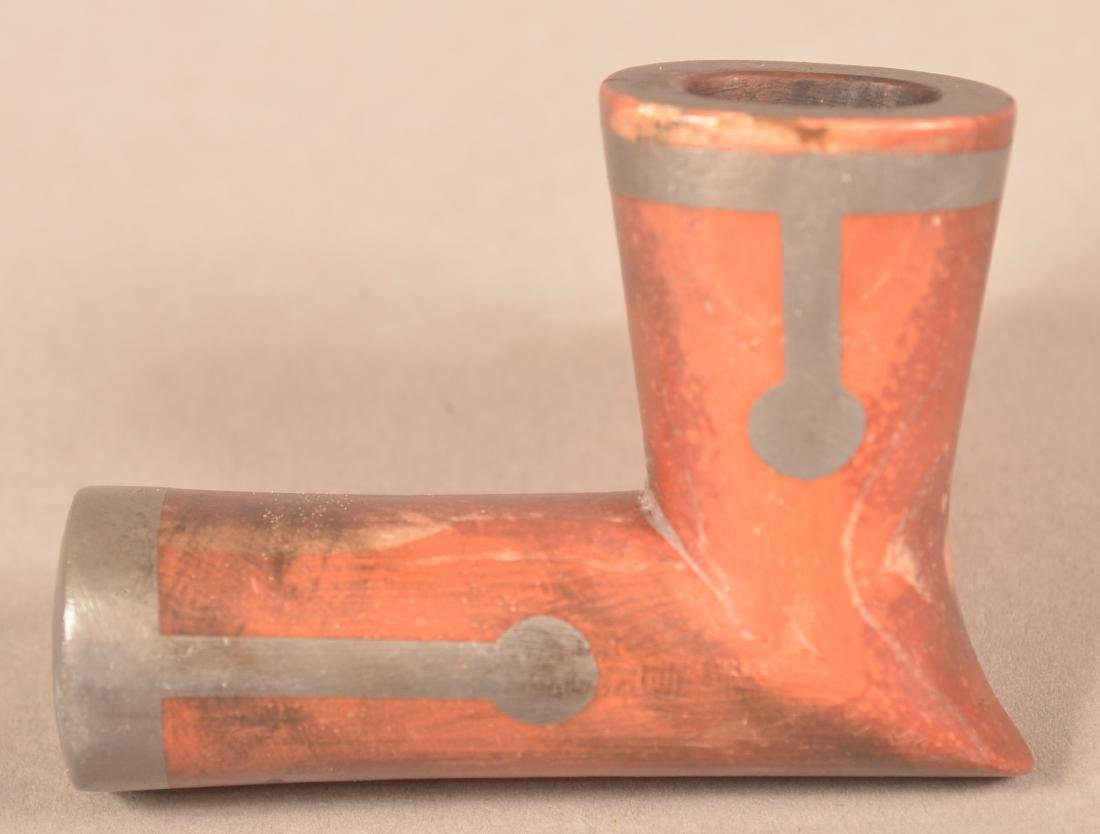 """Antique Catlinite Pipe Bowl w/ Pewter inlay - 2 1/4"""" x - 2"""