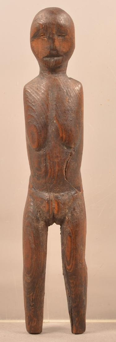 Antique Inuit Carved Wood Figurine Depicting a Female -