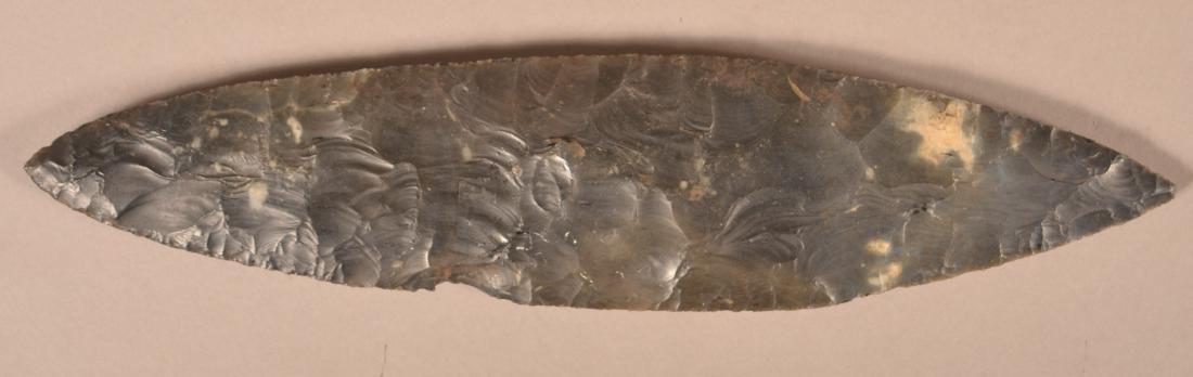 "Very Large Prehistoric Bi-pointed Black Chert Blade 12"" - 2"