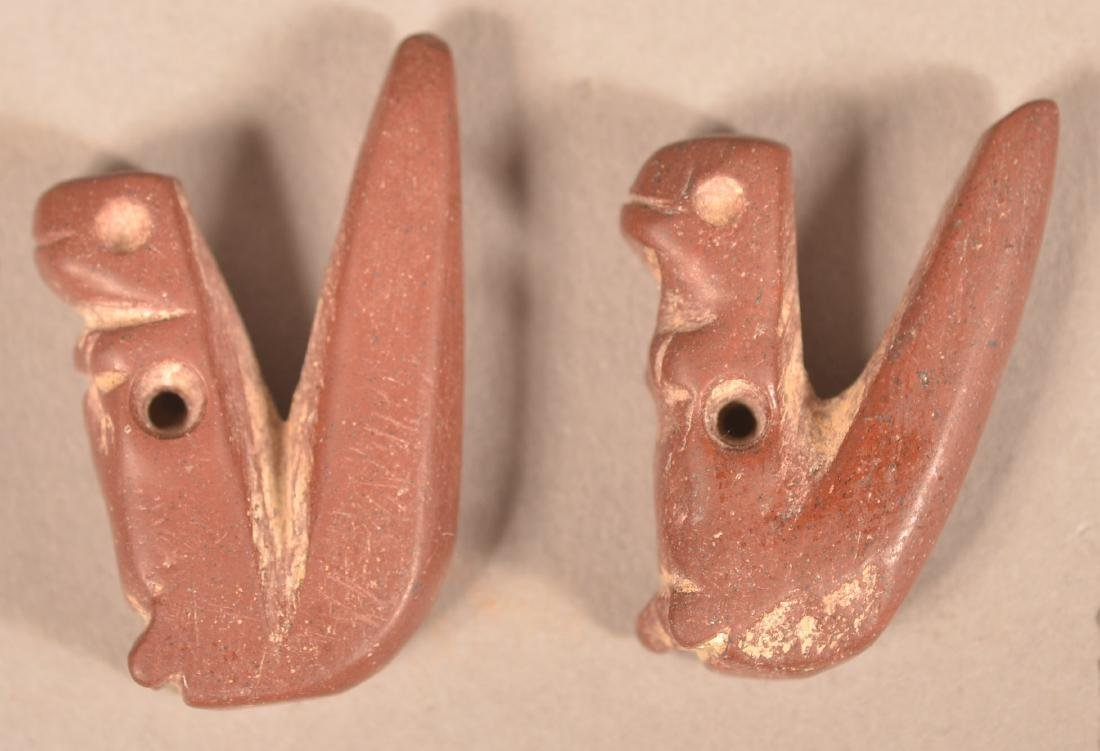 """2 Red Stone Effigies of Squirrels, 1 1/4"""" Tall made - 2"""