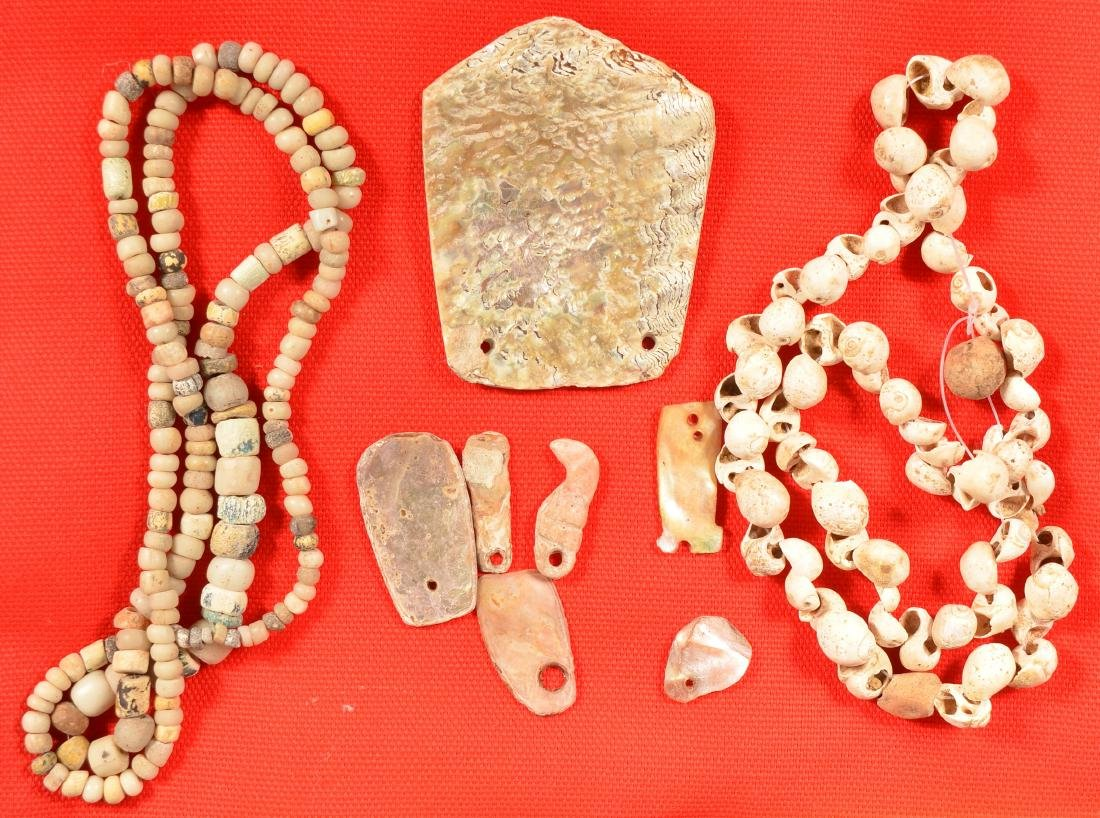 Group of Shell and Glass Trade Beads, Abalone Shell