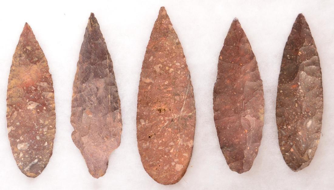 Group of 5 Ancient Flint Artifacts - 4 Leaf Shape
