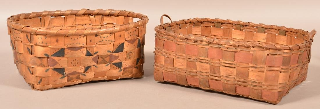 2 Antique Ash Splint Baskets, Paint and Stamp Work