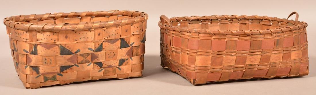 2 Antique Ash Splint Baskets, Paint and Stamp Work - 2