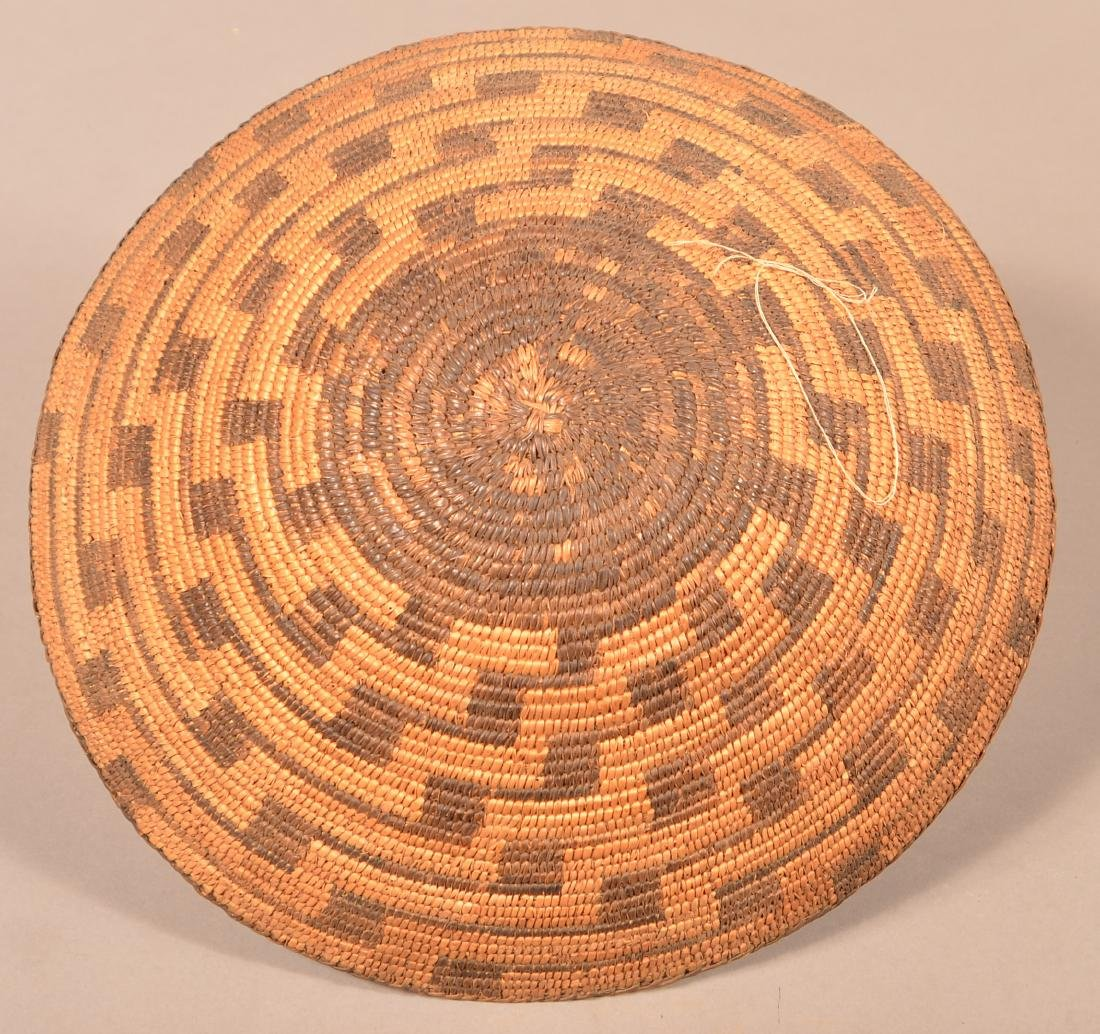 "Antique S.W Indian Coiled Basket 14"" Dia. - 3"