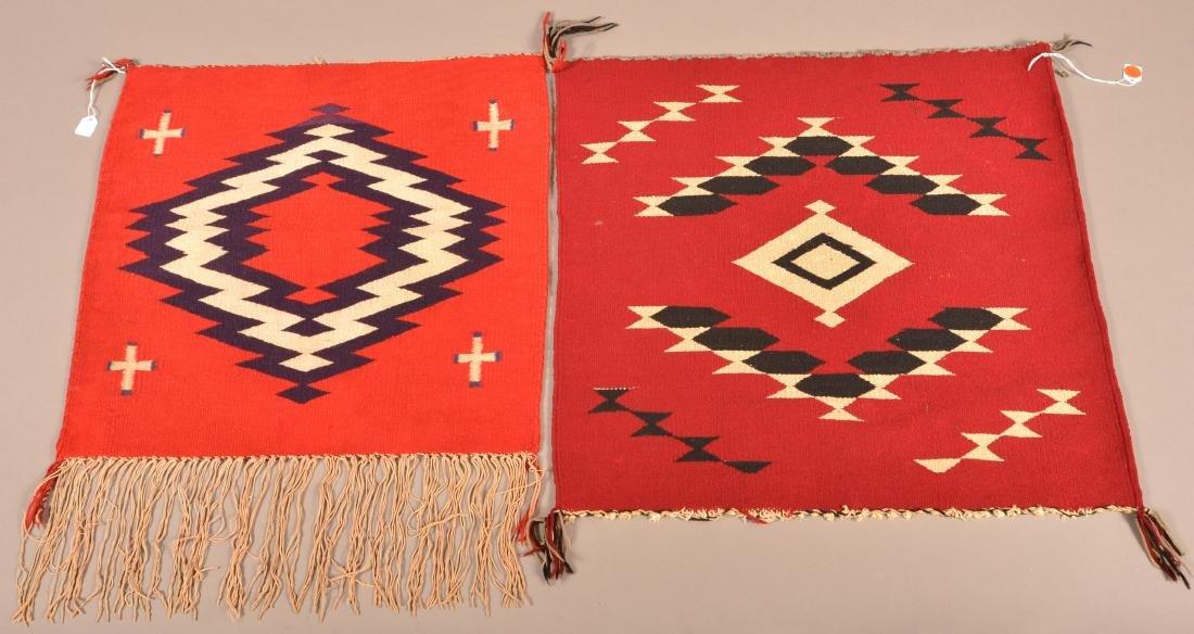 """2 Navaho """"Germantown"""" Weavings 19"""" x 19"""", 21"""" x 22"""""""