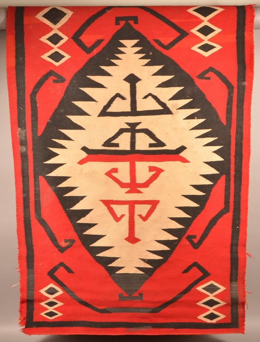"Antique Navaho Rug 72"" x 48"", Edge Worn and in need of"