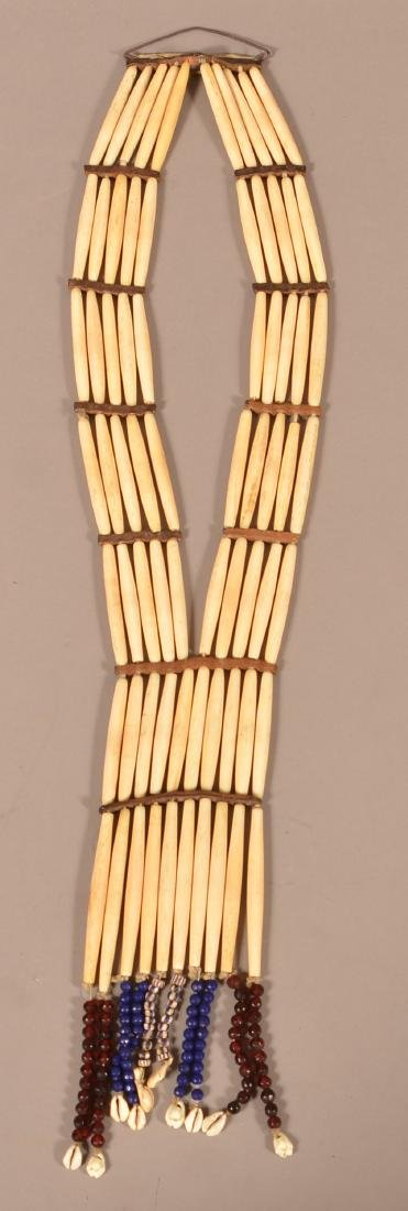 "Antique Sioux Indian ""Hair Pipe"" Necklace of Bone Beads"