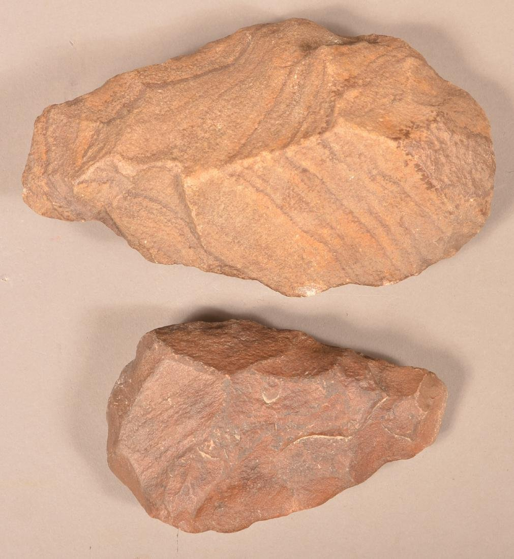 2 Ancient Flaked Stone Hand Axes, Tens of Thousands of